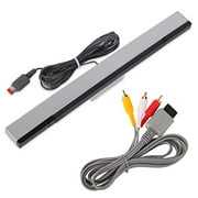 Wired Infrared IR Ray Motion Sensor Bar And AV Composite Cable Wii U And Wii