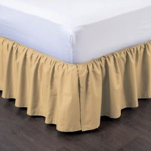 Twin Gold Pleated Dust Ruffled Bed Skirt Bedding Bed Dressing with Split/Open Corners and Easy Fit 14