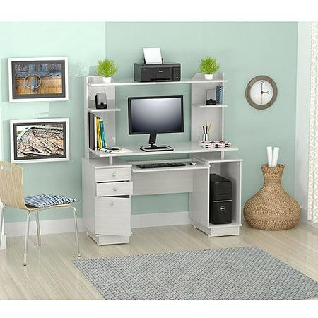 Inval Computer Credenza/Work Center with Hutch, Laricina-White Finish
