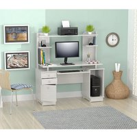 Inval Computer Credenza/Work Center with Hutch, Laricina-White Finish