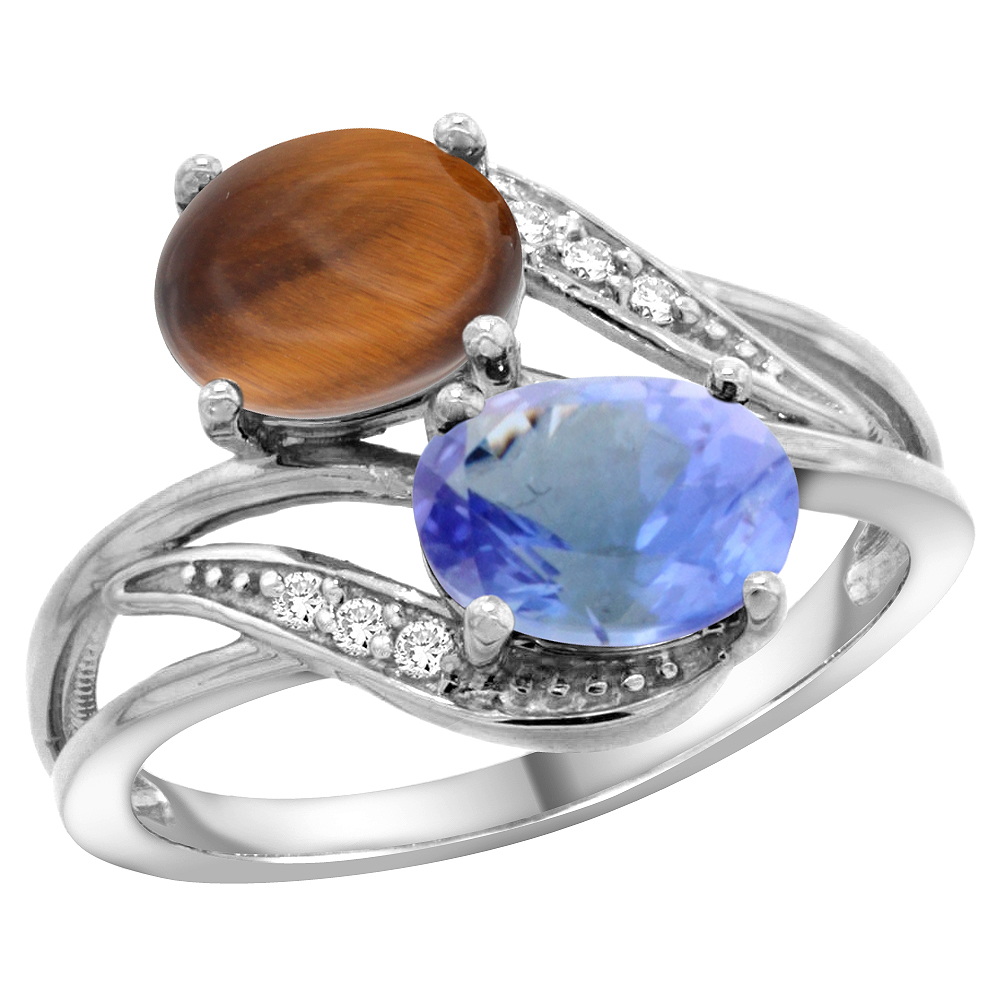 14K White Gold Diamond Natural Tiger Eye & Tanzanite 2-stone Ring Oval 8x6mm, size 5 by Tanzanite Rings
