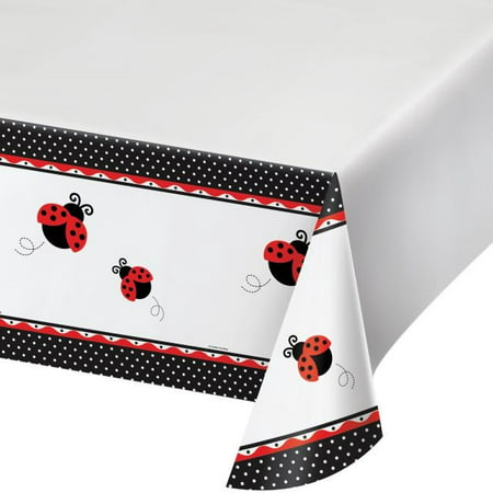 Jelly Bugs Border - Party Creations Ladybug Fancy Plastic Tablecover, Border Print, 54