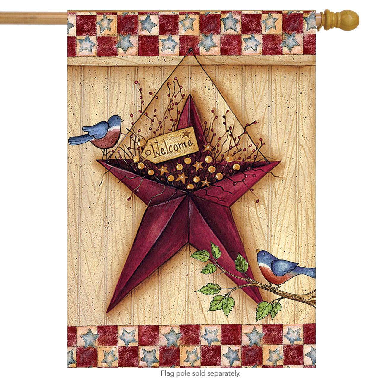 "patriotic barn star house flag 28"" x 40"" primitive birds briarwood lane"
