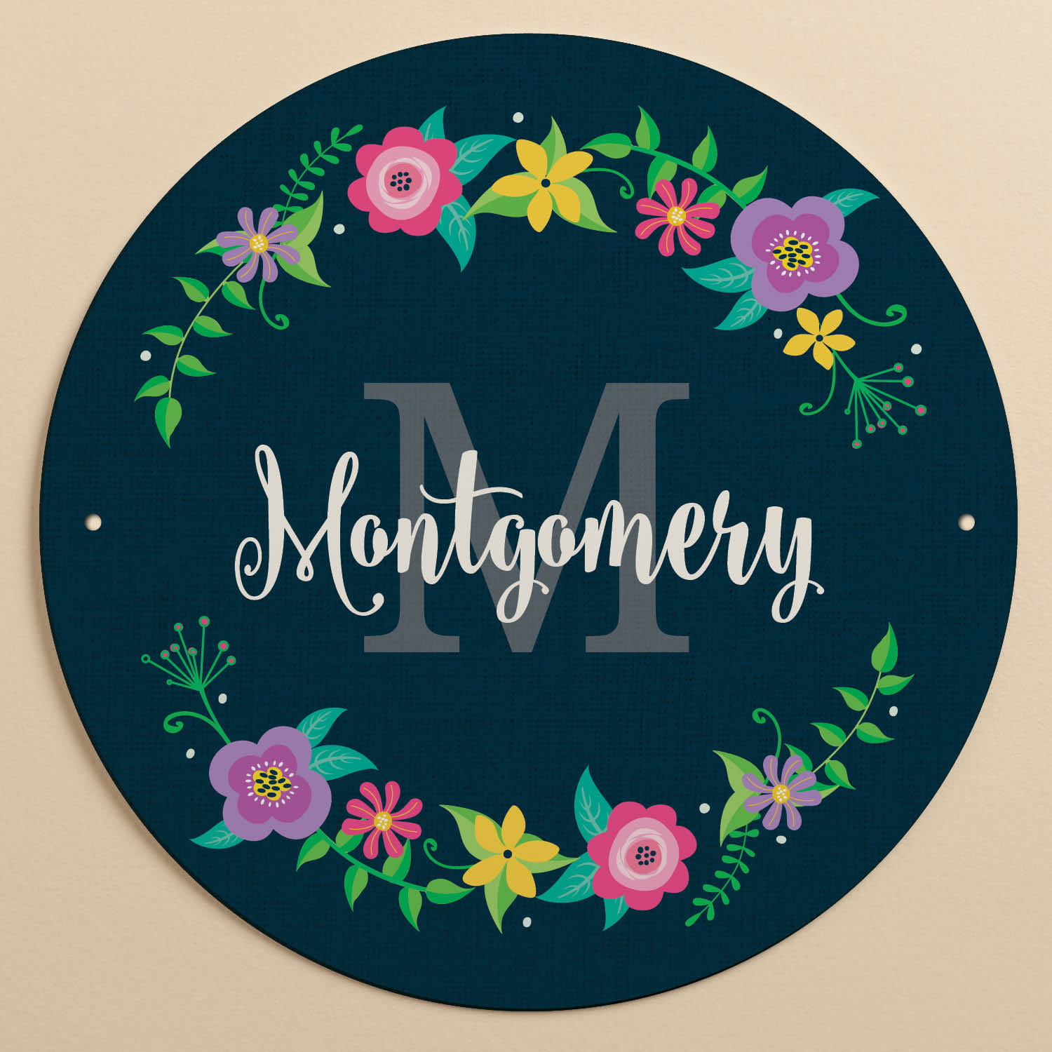 Floral Wreath Navy Personalized Tin Sign