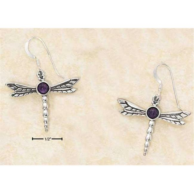Sterling Silver Dragon Fly with Amethyst Cab French Wire Earrings