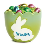 Green Ombre Cracked Egg Personalized Ceramic Bowl