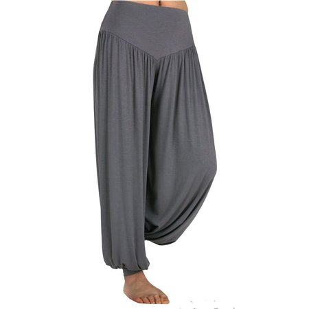 SAYFUT Women's Super Soft Modal Spandex Casual Loose Baggy Harem Yoga Pilates Pants Wide Leg Elastic Waistband Hippie Trousers Womens Wide Waistband Pants
