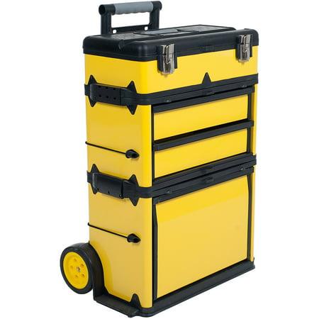 Stalwart Rolling Stacking Portable Metal Trolley Toolbox