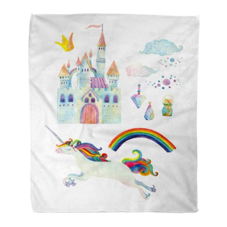 SIDONKU Flannel Throw Blanket Watercolor Fairy Tale Collection Unicorn Rainbow Castle Magic Gemstones and Clouds Hand Children 50x60 Inch Lightweight Cozy Plush Fluffy Warm Fuzzy (Fairy Tale Jewels)