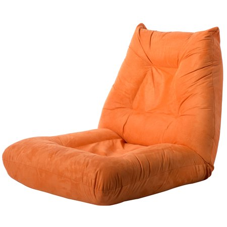 Hommoo Single Recliner Chair, Orange Adjustable 5-Position Folding Lazy Floor Sofa Chair for Living Room Home Office (Straight Adjustable Single)