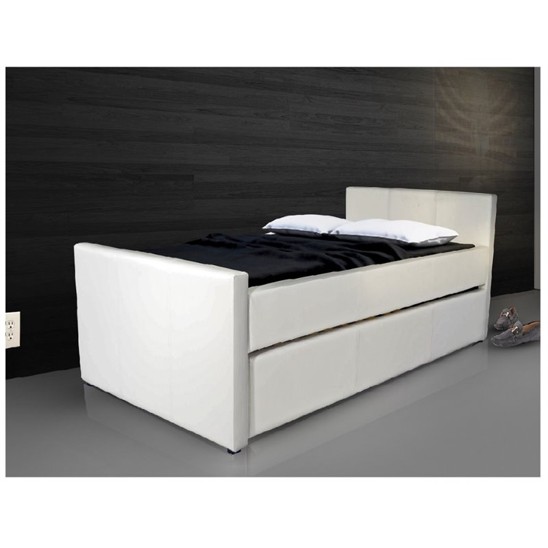 Casabianca Duette Leather Upholstered Twin XL Trundle Bed in Gray