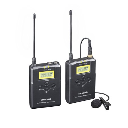 Saramonic UWMIC15 16-Channel Digital UHF Wireless Lavalier Microphone System with Bodypack Transmitter, Portable Receiver, Lav Mic, Shoe Mount, XLR/3.5mm Outputs (RX15+TX15)