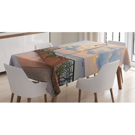 Italian Decor Tablecloth, Dawn at Ortona Abruzzo Italy Terrace View on the Adriatic Sea, Rectangular Table Cover for Dining Room Kitchen, 60 X 84 Inches, Light Caramel and White, by Ambesonne
