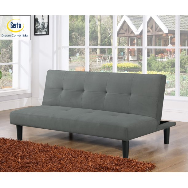 Serta Easton Casual Convertible Futon in Microfiber, Dark Grey