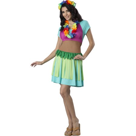 Hawaiian Hula Womens Adult Halloween Costume Dancer Apron Kit-Os (Denver Halloween 2017 Bars)