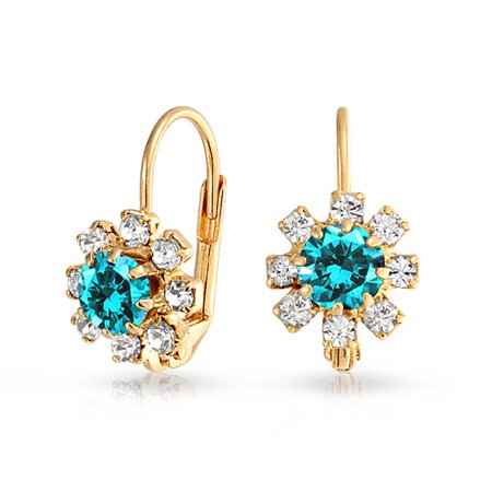 - Simulated Aquamarine Flower Leverback Earrings Gold Filled