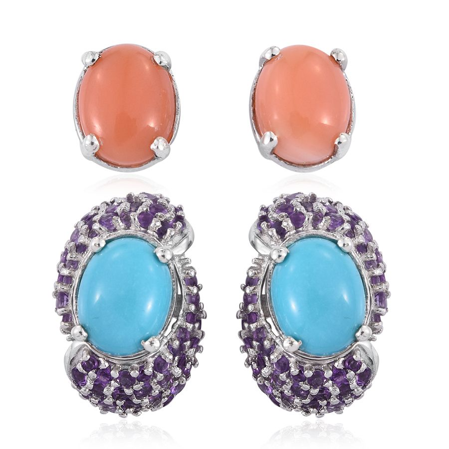 Set of 2 Sleeping Beauty Turquoise Melon Coral Amethyst Platinum Plated Sterling Silver Earrings by Shop LC