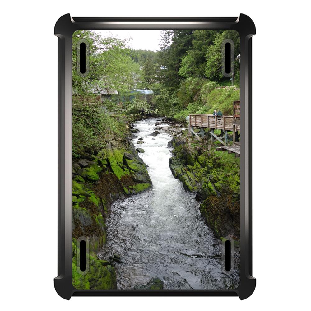 CUSTOM Black OtterBox Defender Series Case for Apple iPad Mini 1 / 2 / 3 - Ketchikan Alaska Stream