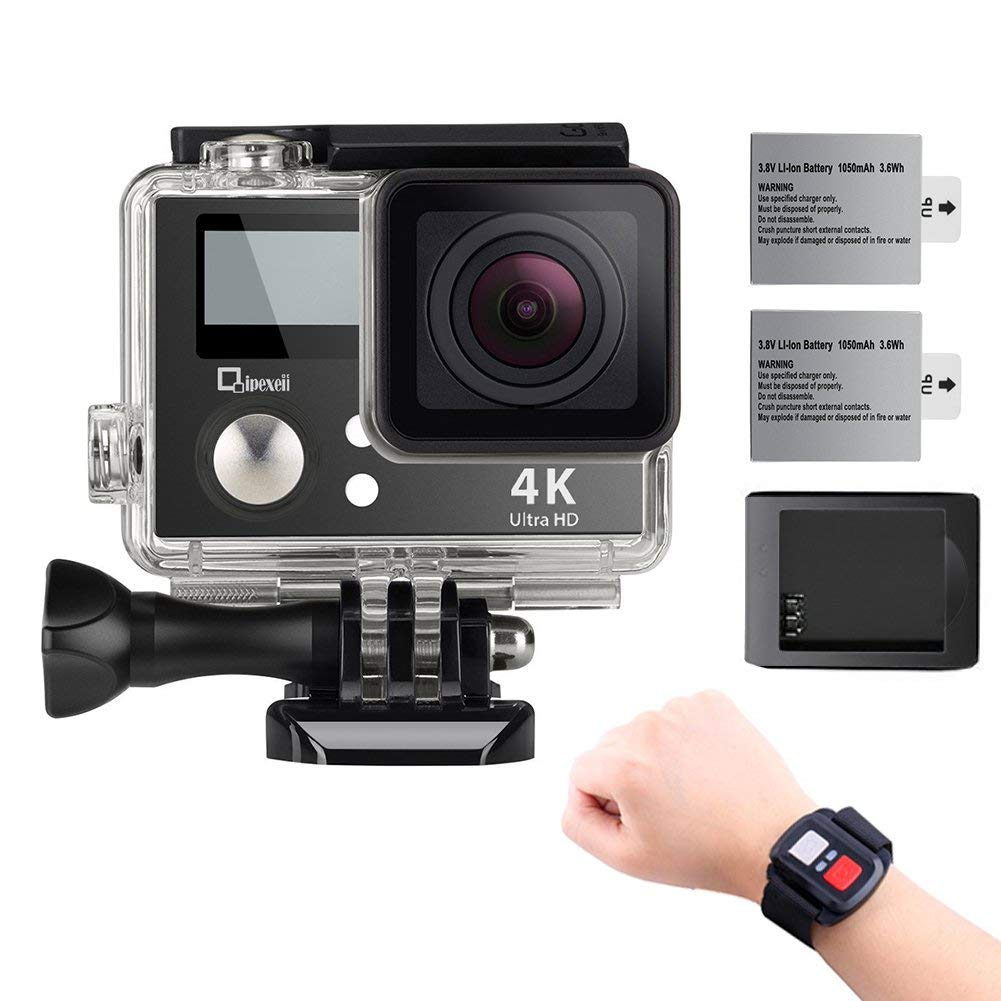 4K Wifi Sports Action Camera Underwater Camcorder Qipexeii Double Screen Sony Sensor 16MP 100 Feet Waterproof by Qipexeii