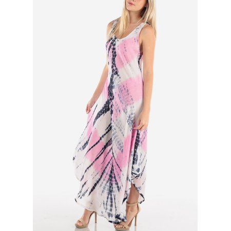 Back Tie Strapless Dress - Women's Junior Ladies Summer Vacation Sleeveless Racerback Tie Dye Round Hem Pink Tank Maxi Dress 41176X