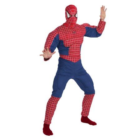 Spider Man Halloween Costume Adults.Spiderman Muscle Chest Adult Halloween Costume One Size