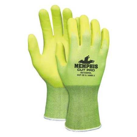 MCR SAFETY Cut Resistant Gloves,A2,M,HiVis Ylw,PR 92723HVM