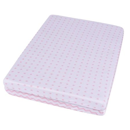 Waterproof Pack N Play/Portable Crib Sheet - No need for Mattress Pad Cover -2 Pack Pink Chevron and Polka Dot for $<!---->