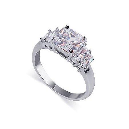 Gem Avenue 925 Sterling Silver Princess Cut Clear Cubic Zirconia Ring