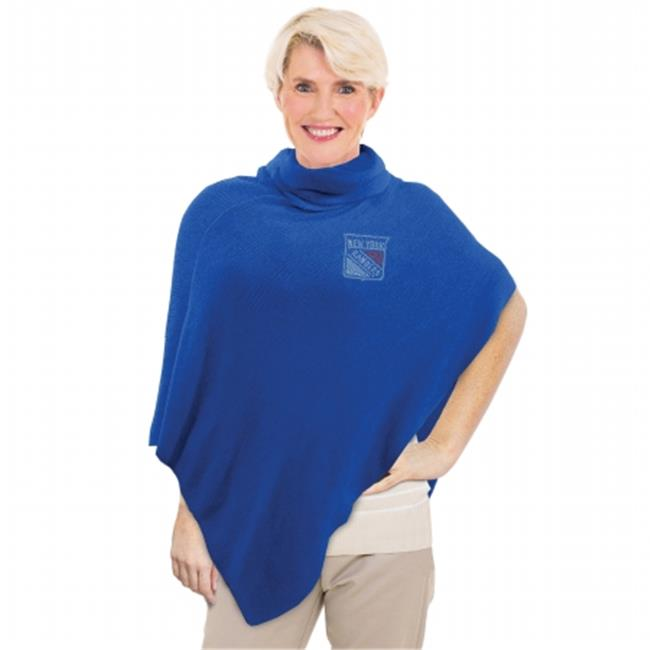 Little Earth Productions 551114-RNGR-ROYL New York Rangers Crystal Knit Poncho Royal by Little Earth Productions