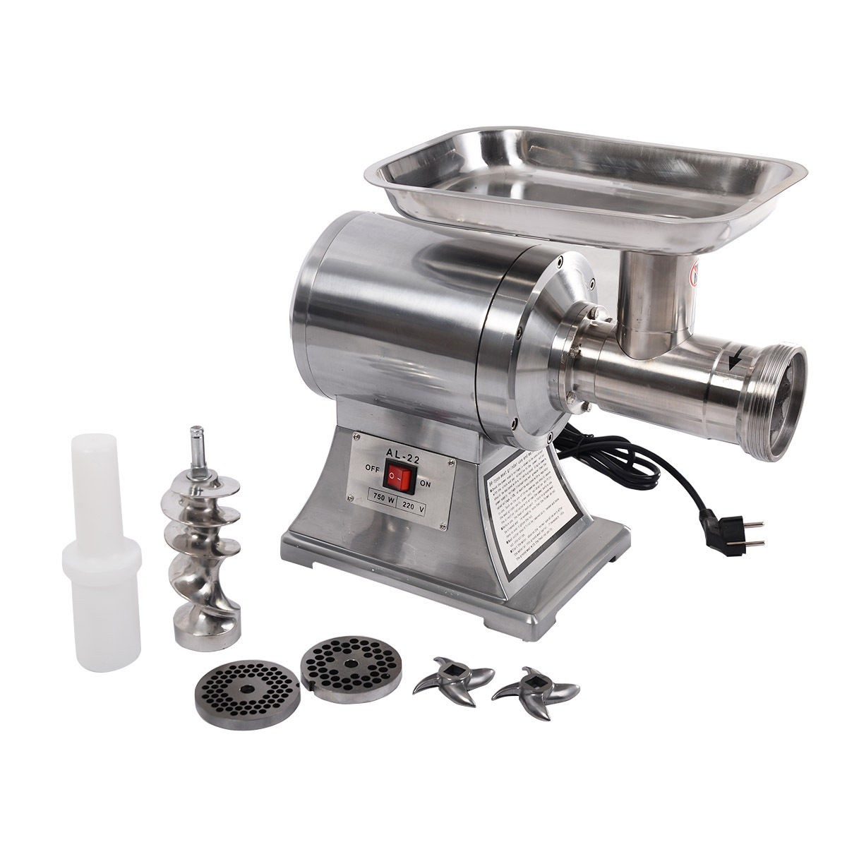 1100W Commercial #22 Industrial Electric Meat Grinder Food Processor,1HP, Silver by Apontus