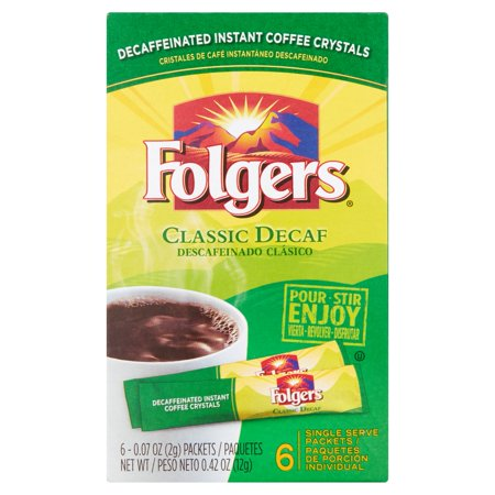 - (5 Pack) Folgers Decaf Instant Coffee, Classic, 0.07 Oz, 6 Ct