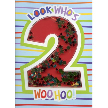 Paper House Productions Look Who's 2 Confetti Shaker 3D Age 2 / 2nd Birthday Card