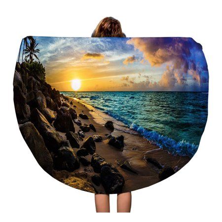 NUDECOR 60 inch Round Beach Towel Blanket Vacation Beautiful Hawaiian Sunset North Shore of Oahu Aloha Travel Circle Circular Towels Mat Tapestry Beach Throw - image 1 of 2
