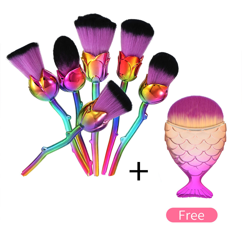 6pcs Rose Flower Shaped Makeup Brushes Set Foundation Contour Blush Powder Eyeshadow Base Make Up Brushes with Free Fish Brush