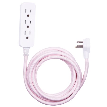 Cordinate Designer Extension Cord, 3 Grounded Outlets with Surge Protection, Pink, 10ft Cord and Flat Plug, with Tamper Resistant Safety Outlets, 41887