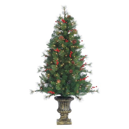 4.5 ft. Potted Alberta Spruce Pre-Lit Full Christmas Tree by Sterling Tree  Company - 4.5 Ft. Potted Alberta Spruce Pre-Lit Full Christmas Tree By
