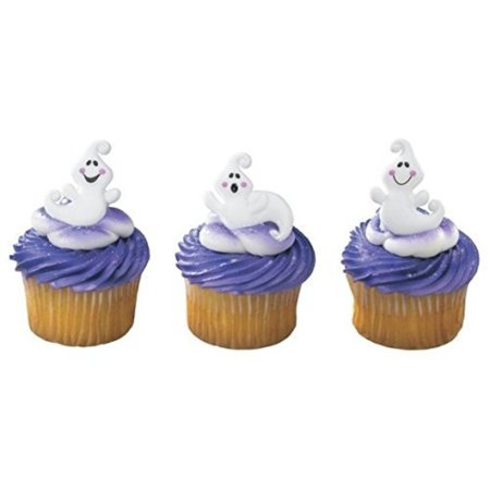 Friendly Halloween Ghosts Cupcake Rings - 24 pcs by Bakery Supplies, Pack of 24 assorted ghost rings By A1 Bakery Supplies
