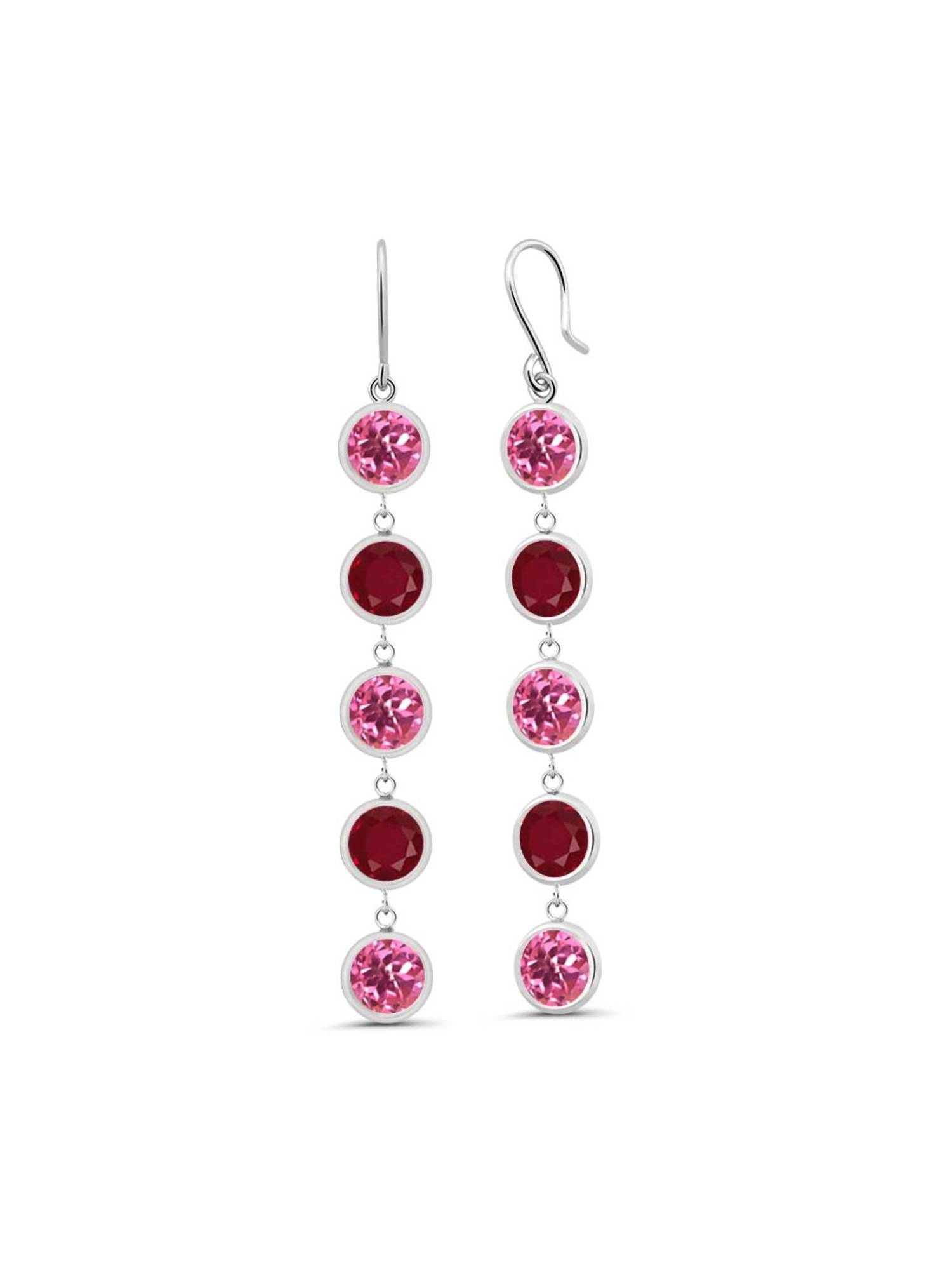 5.00 Ct Round Pink Mystic Topaz Red Ruby 925 Sterling Silver Earrings by
