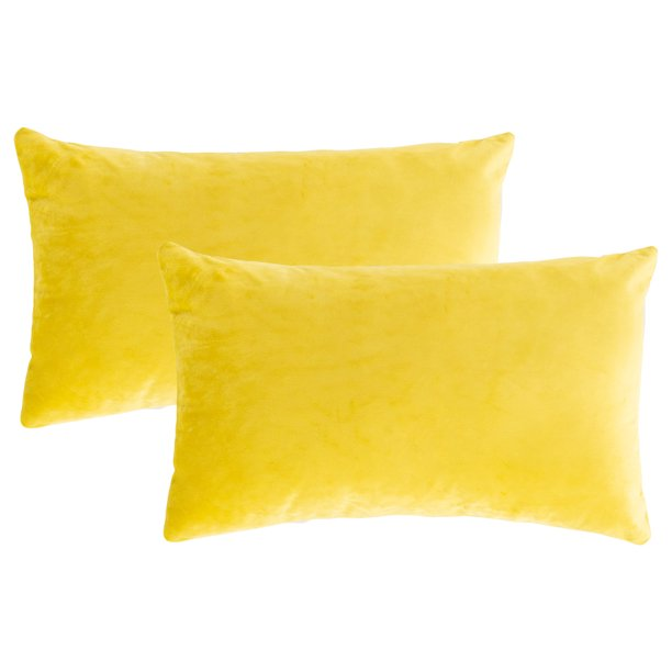 Stylish Throw Pillows Covers Sets Of 2 Velvet Rectangle Sofa Bed Decorative Pillows Covers Cushion Cases Pillowcases For Couch Home Decoration Sofa Bedroom Car 12 X 20 Lemon Yellow S14554 Walmart Com