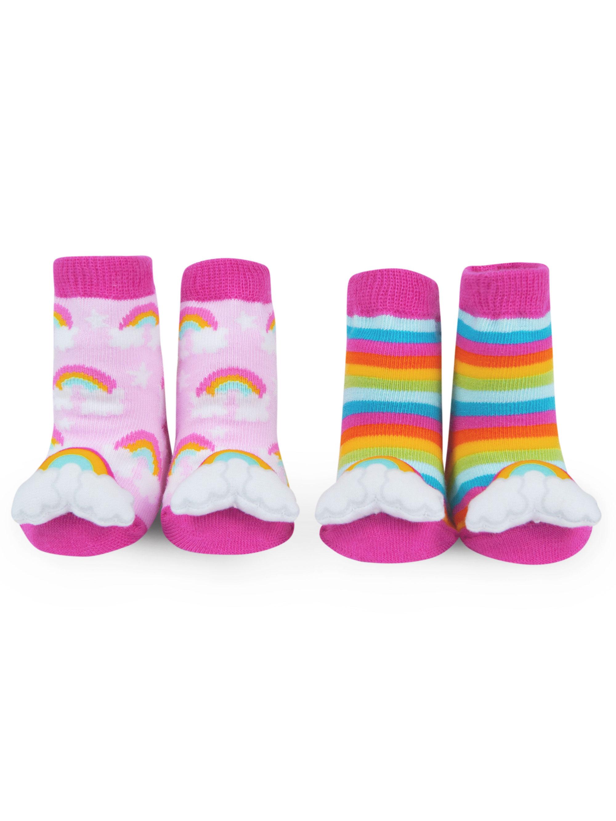 Waddle Girls Rainbow Socks Baby Rattle Newborn 0-12 Months | 2 Pairs Pink