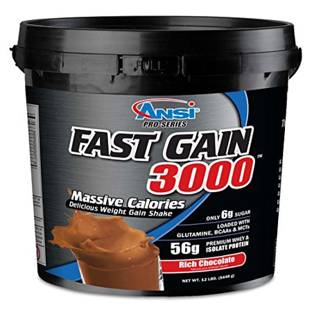 ANSI - Fast Gain 3000 - Massive Calorie Weight Gainer - 12lbs (Rich