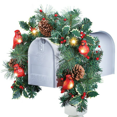 christmas floral mailbox decoration with cardinals solar lights