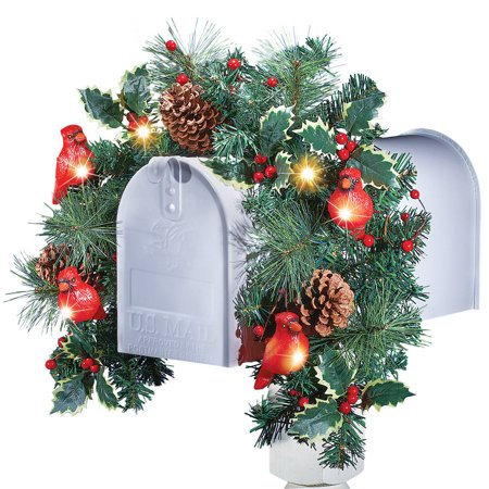Mailbox Christmas Decorations.Christmas Floral Mailbox Decoration With Cardinals Solar Lights