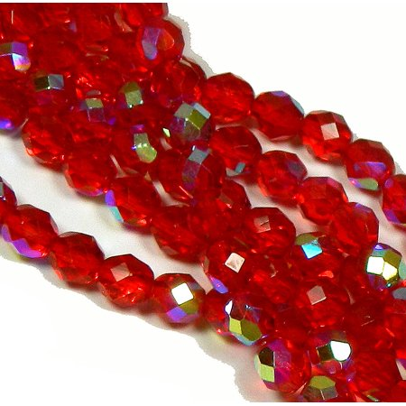 Firepolish Faceted Glass Beads - 24 Firepolish Faceted Czech Glass, Loose Beads, 8mm AB Siam Ruby