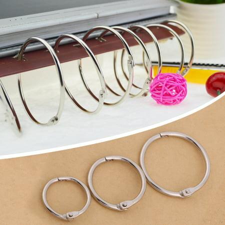 Ymiko Hinged Binder, Split Ring,3Sizes 20PCS Metal Hinged Ring Book Binder Split Key Rings Album Scrapbook Loose Leaf Clip