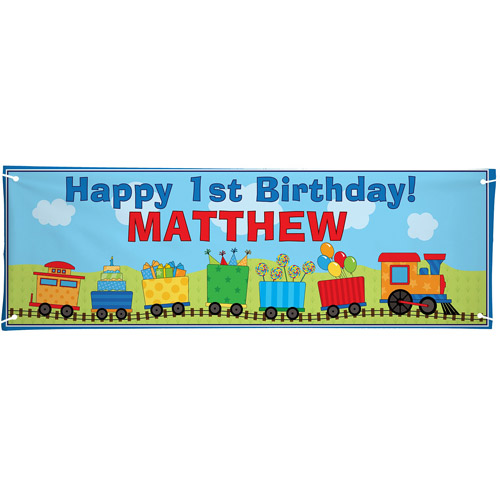Personalized Oversized Birthday Banner, Train