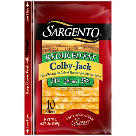 Sargento Reduce Fat Colby-Jack Sliced Natural Cheese, 10 count, 6.67 oz