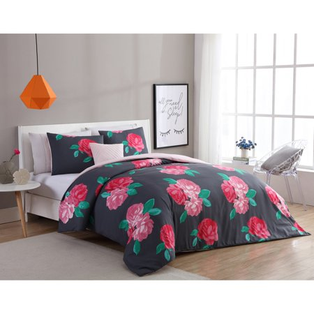 VCNY Home Charcoal/Rose RoseMary Floral 3/4 Piece Comforter Bedding Set, Shams Included