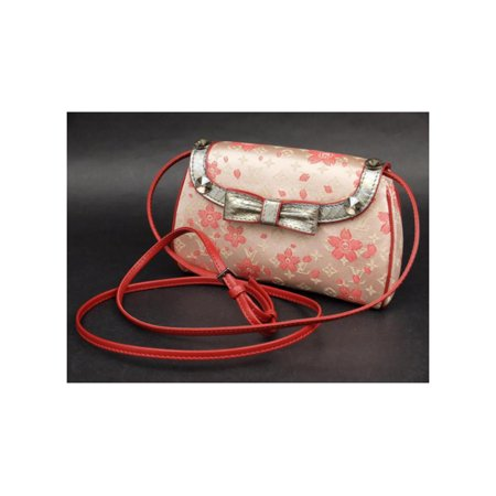 Cherry Blossom Satin ((Ultra Rare) Monogram Cherry Blossom Griotte 227924 Red Satin Cross Body Bag)