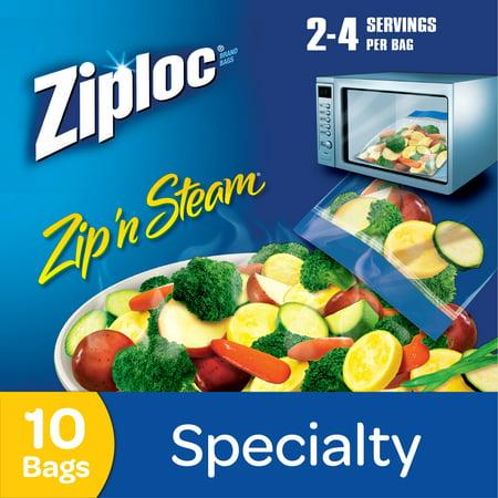 Ziploc Pinch And Seal Zip N Steam Microwave Cooking Bags Medium 10 Ct